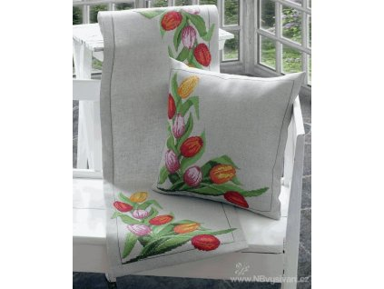 A-9240000-02104 Ubrus s tulipány (36x112cm)
