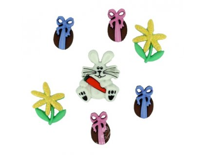 DIU-1299 Ozdobné knoflíky - Easter Bunny Hop