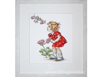 LUC-B1050 Děvčátko v červených šatech