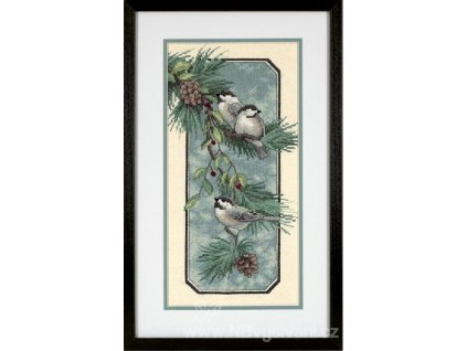 3199 Chickadees on a Branch - Sýkorky na větvi