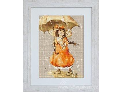 LUC-B1065 Dívka s deštníkem