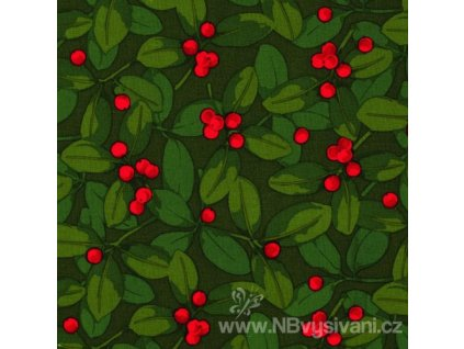 A-PWMN076-GREEN Poinsettia & Holly (10cm)