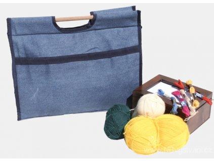 BM-BL00001 Taška na pletací potřeby modrá