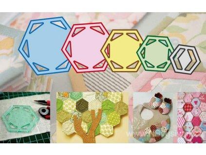 RR-RN5560 Set 5ks šablon pro patchwork Hexagon
