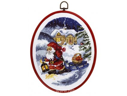 PER12-1265 Vánoční sada s rámečkem - Santa a sáně