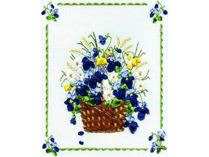 PAN-C0661 Košík s květinami (stužková výšivka)