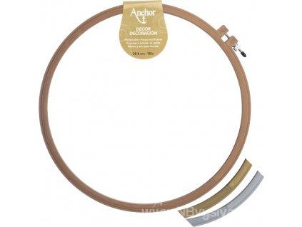 N-A4402-10 Plastový kruh na vyšívání zlatý (25cm)