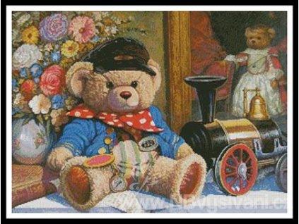 IC10023-11282 Teddy and Locomotive (Aida 18ct)