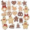 CRE-522581 Dřevěné vánoční ozdobičky -  mix (100ks)