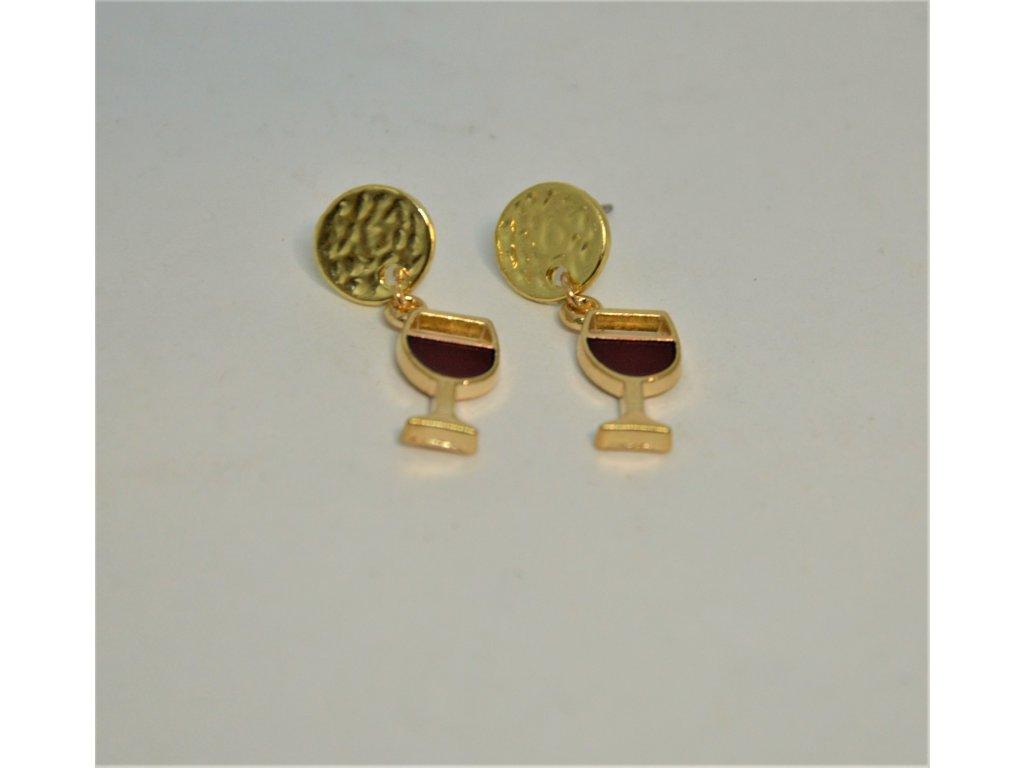 Náušnice zlaté skleničky s červeným vínem