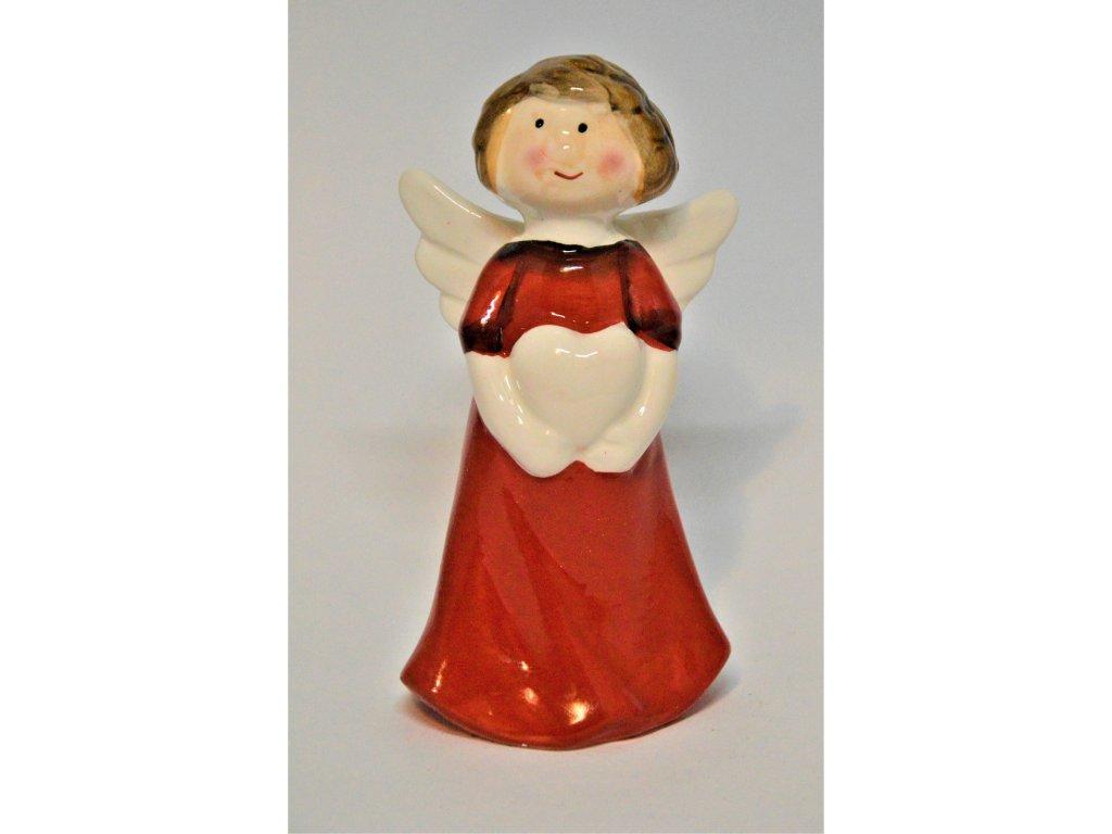 Červený keramický andělíček