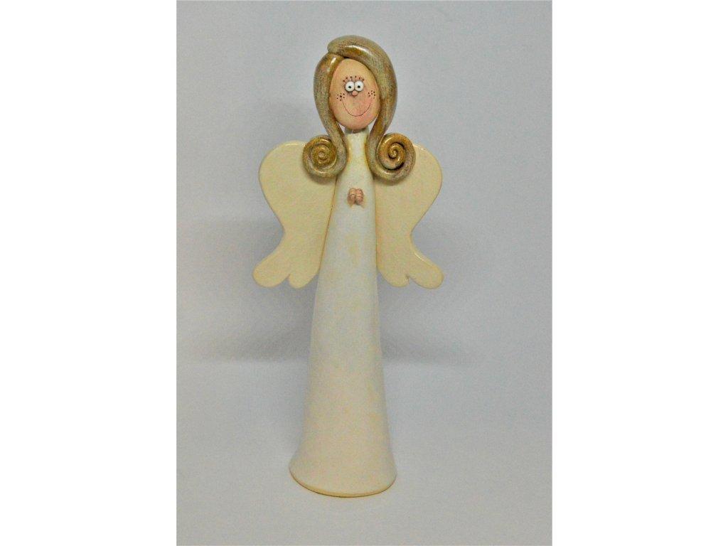 Bílý keramický anděl