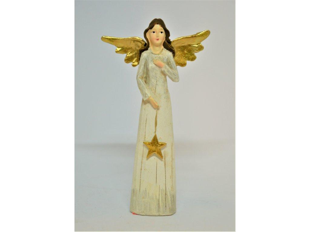Béžový anděl se zlatými křídly
