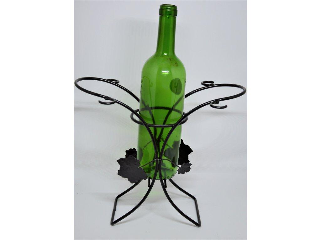 Drátěný stojan na víno a 4 sklenice