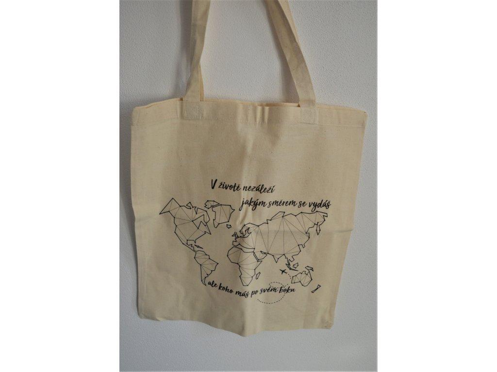 Látková taška s potiskem mapy
