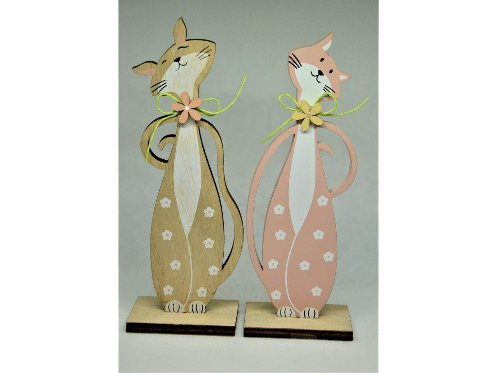 Dřevěná dekorace kočka