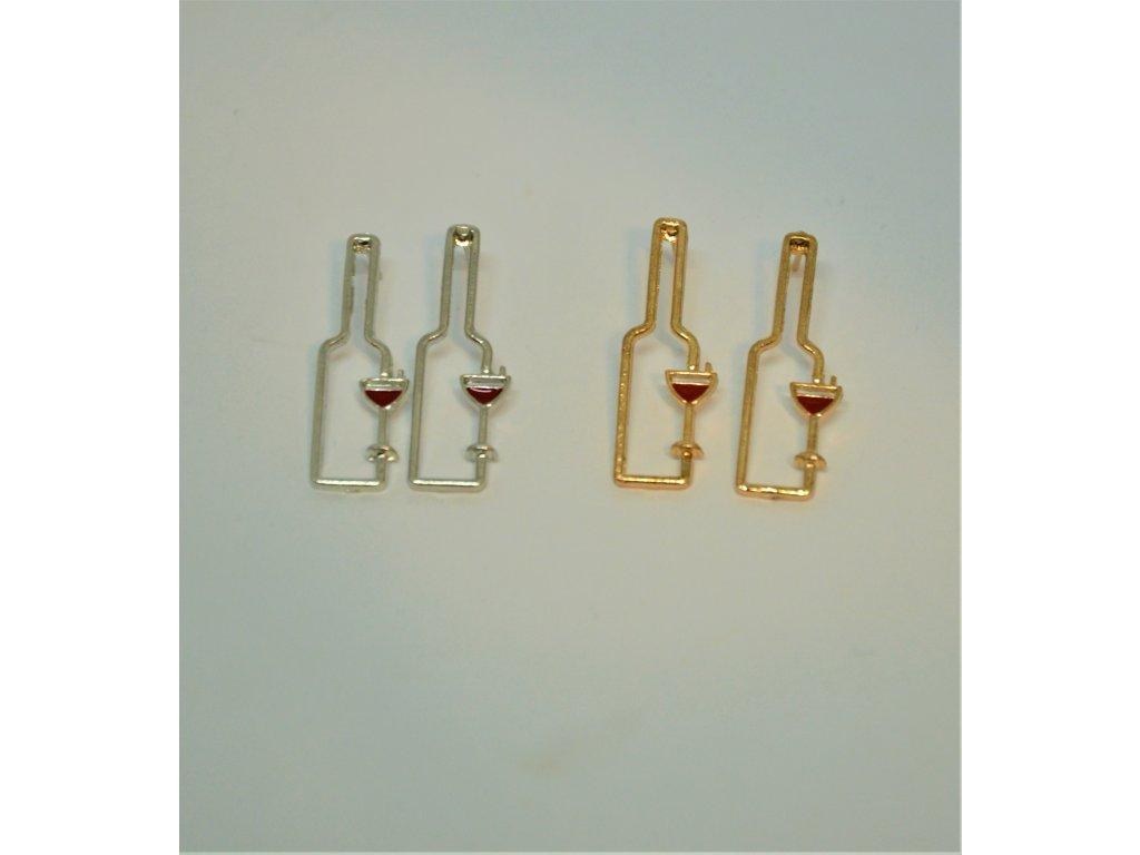 Náušnice s lahví vína a skleničkou