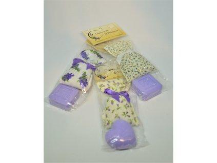 Dárkový set - francouzské luxusní přírodní mydélko a pytlíček plněný levandulovým květem