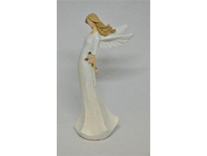 Anděl s rozkvetlou květinou za zády