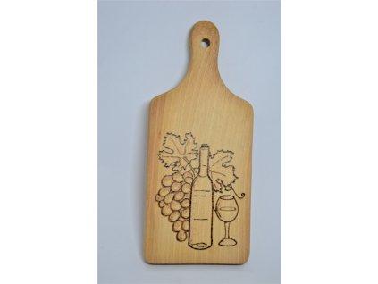 Dřevěné prkénko s motivem vína