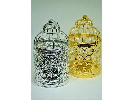 Svícen na čajovou svíčku ve tvaru ptačí klece