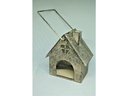 Plechový stojan na čajovou svíčku ve tvaru domečku