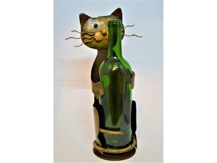 Kovový stojan na víno Kočka