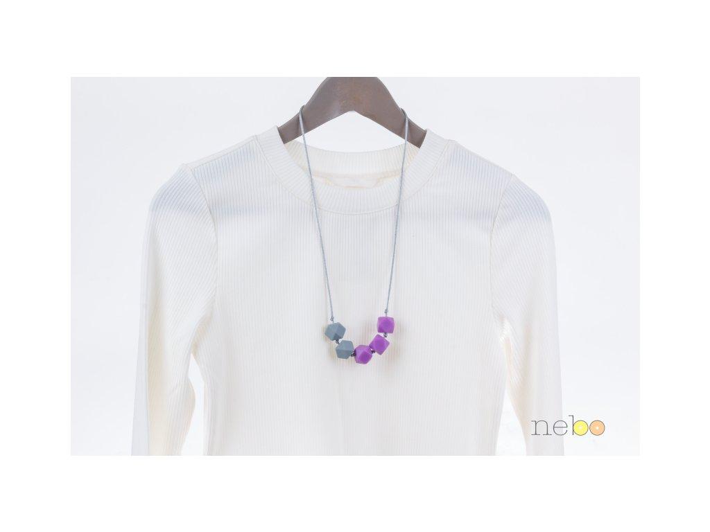 Kojicí korále Elvíra - fialovo šedé