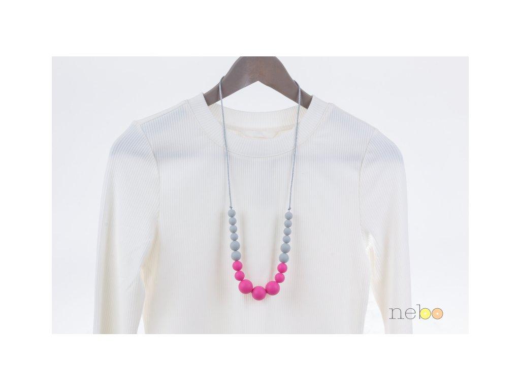Kojicí korále Annabel - růžovo šedé