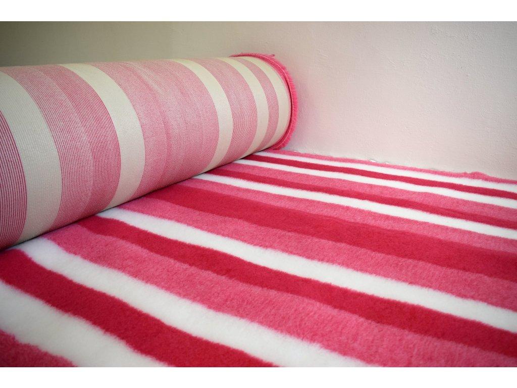 DRYBED růžová červená bílá pruhy