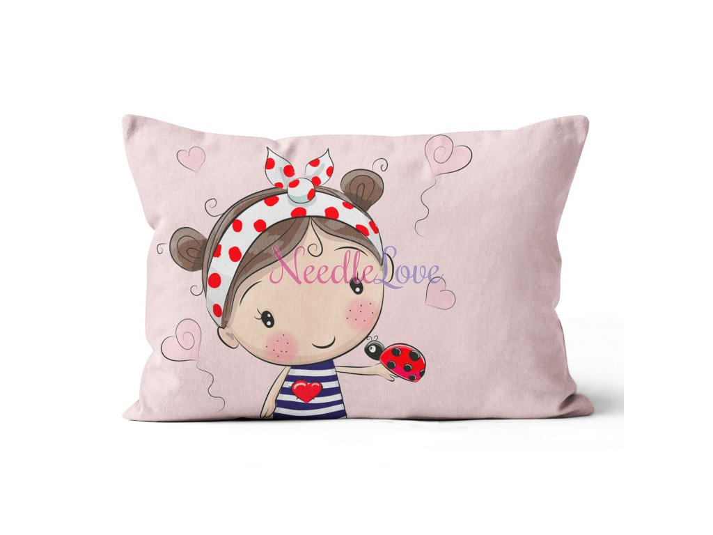 pillowlwide girl with ladybug