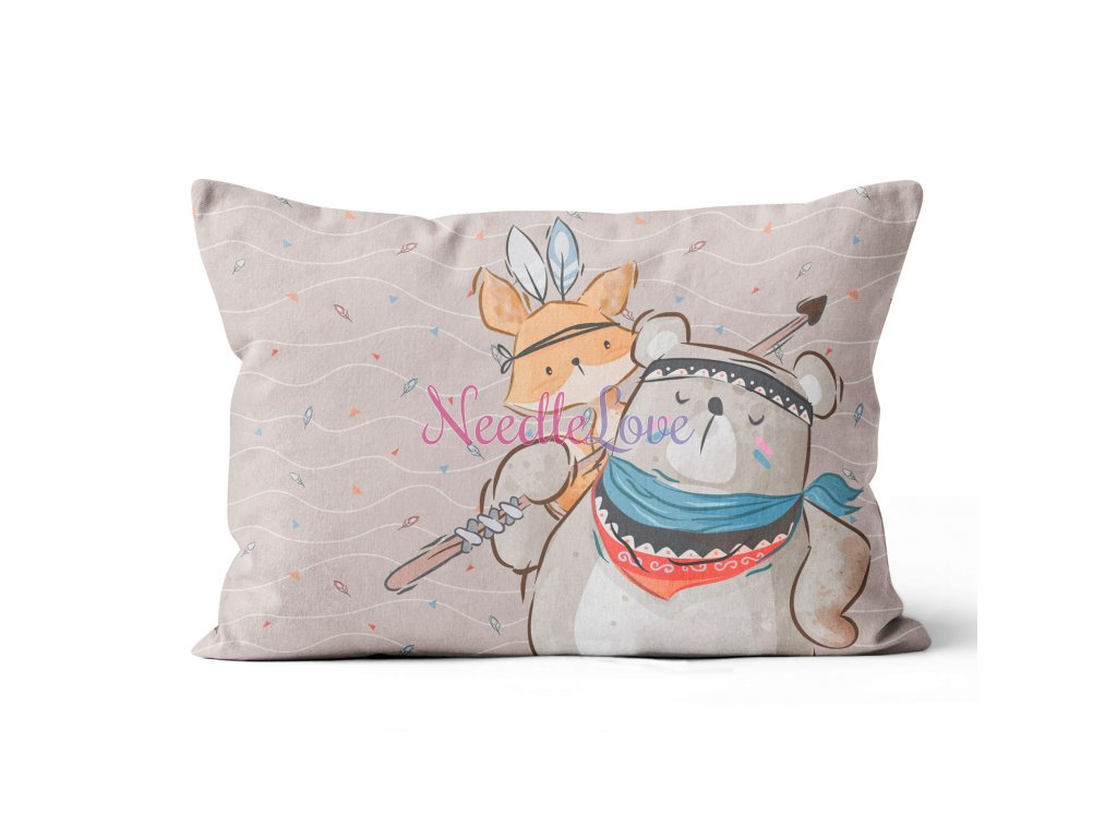 pillow 6040 panel mother boho bear and fox