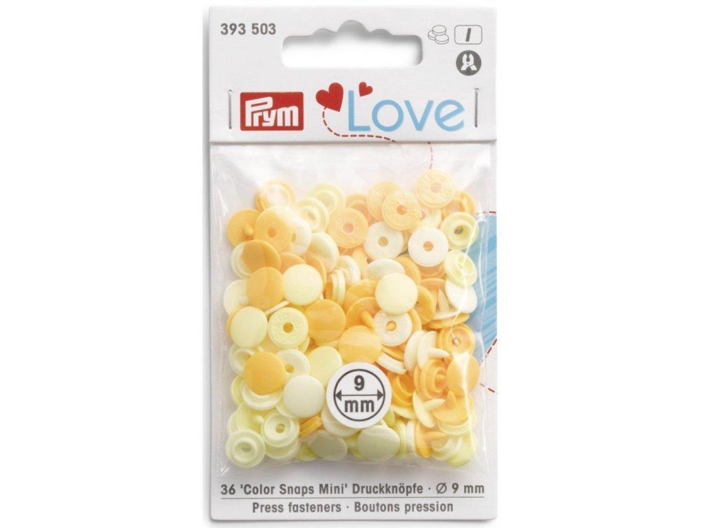 prym love mini plastove patentky color snaps zluty mix