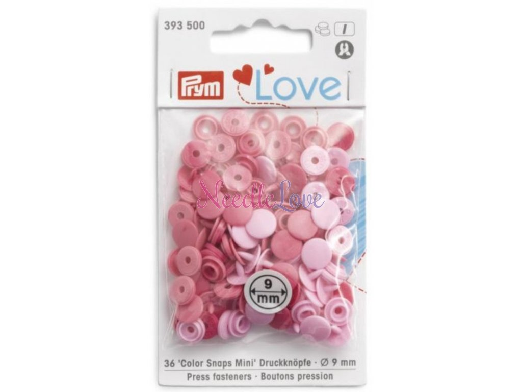 prym love mini plastove patentky color snaps ruzovy mix