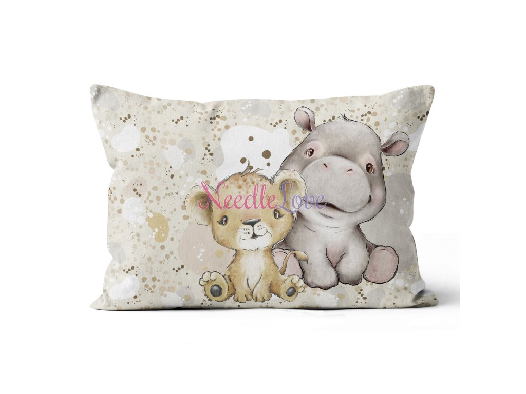 pillow 6040 panel african babies lion and hipo