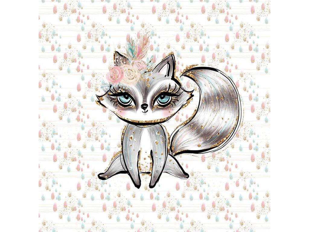 boho girl dots raccoon