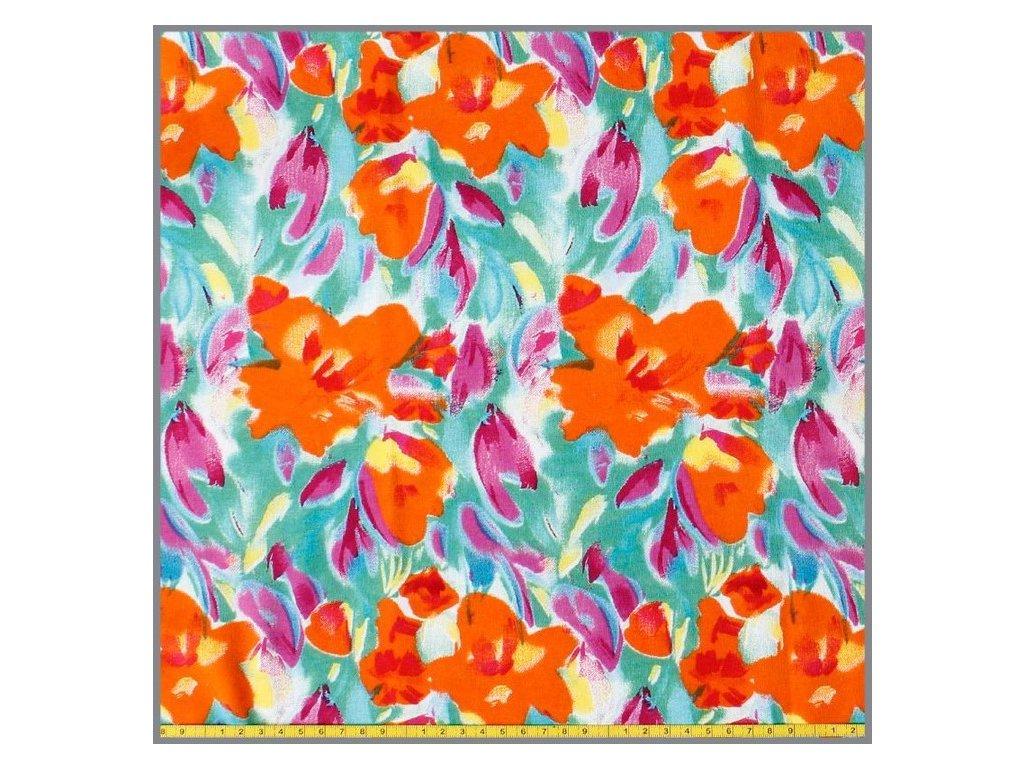 baumwolljersey blumen malerei orange 10 meter 3