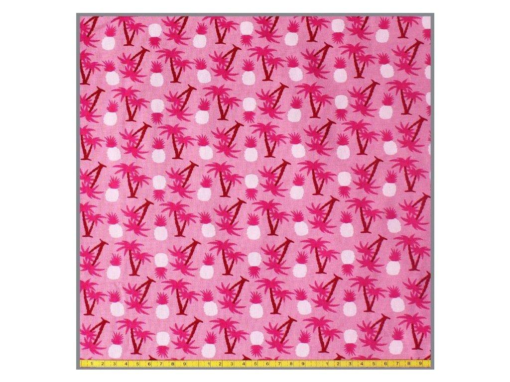 baumwolljersey ananas und palmen rosa 10 meter 3