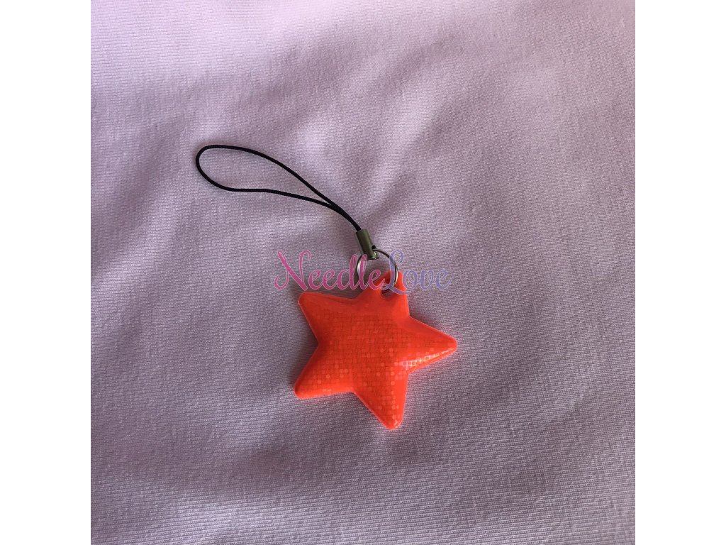 Taháček na zip reflexní - oranžová hvězda