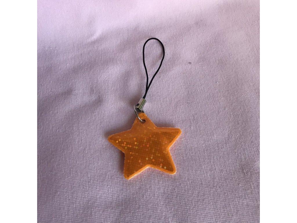 Taháček na zip reflexní - zlatá hvězda