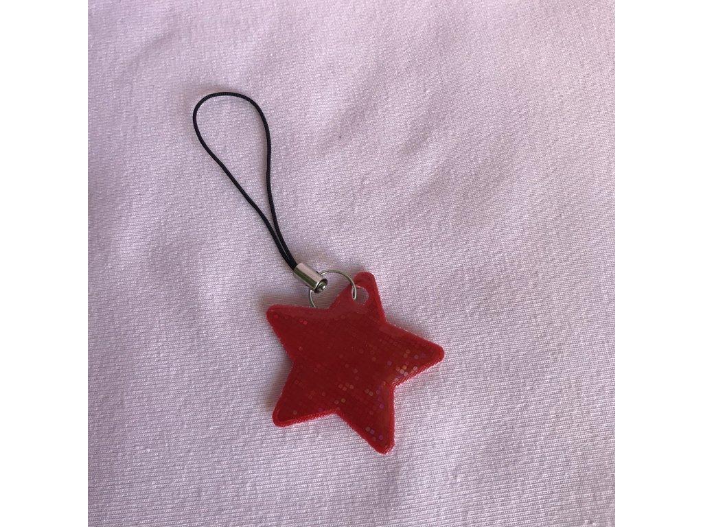 Taháček na zip reflexní - červená hvězda