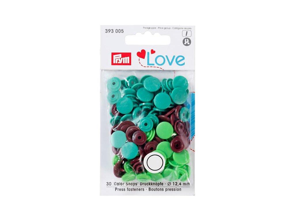 prym love plastove patentky color snaps zelenohnedy mix