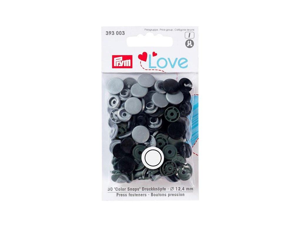 prym love plastove patentky color snaps sedy mix