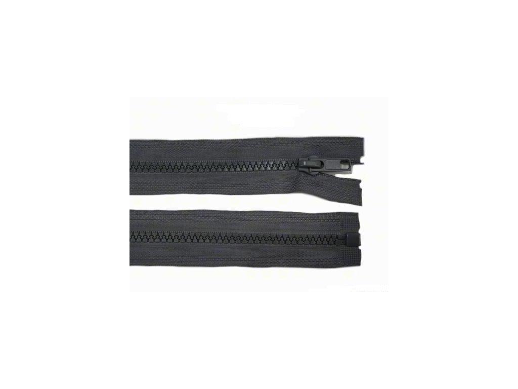Kostěný zip šíře 5 mm - tmavě šedý