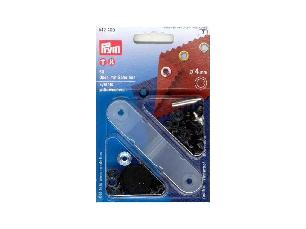 pruchodky prym kovove 4mm cerny nikl s podlozkou
