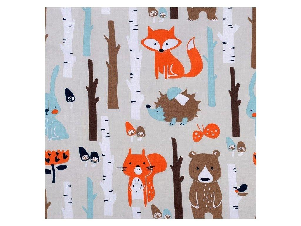 Bavlněné plátno - Lišky v lese