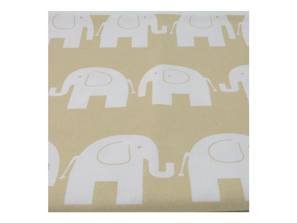 bawelna 100 slonie na bezowym tle