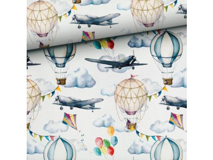 baloons and planes white