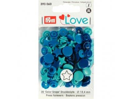 prym love plastove patentky color snaps hvezdicky modro tyrkysove