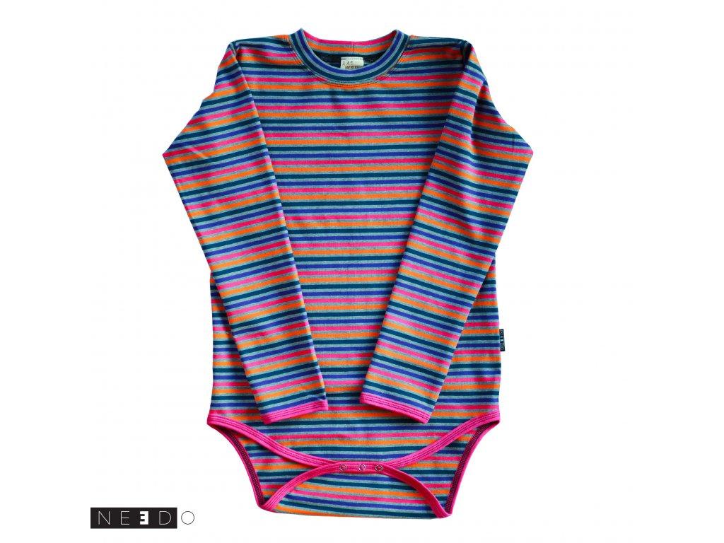 Needo Bavlněné ZIMNÍ triko (body) - barevný proužek